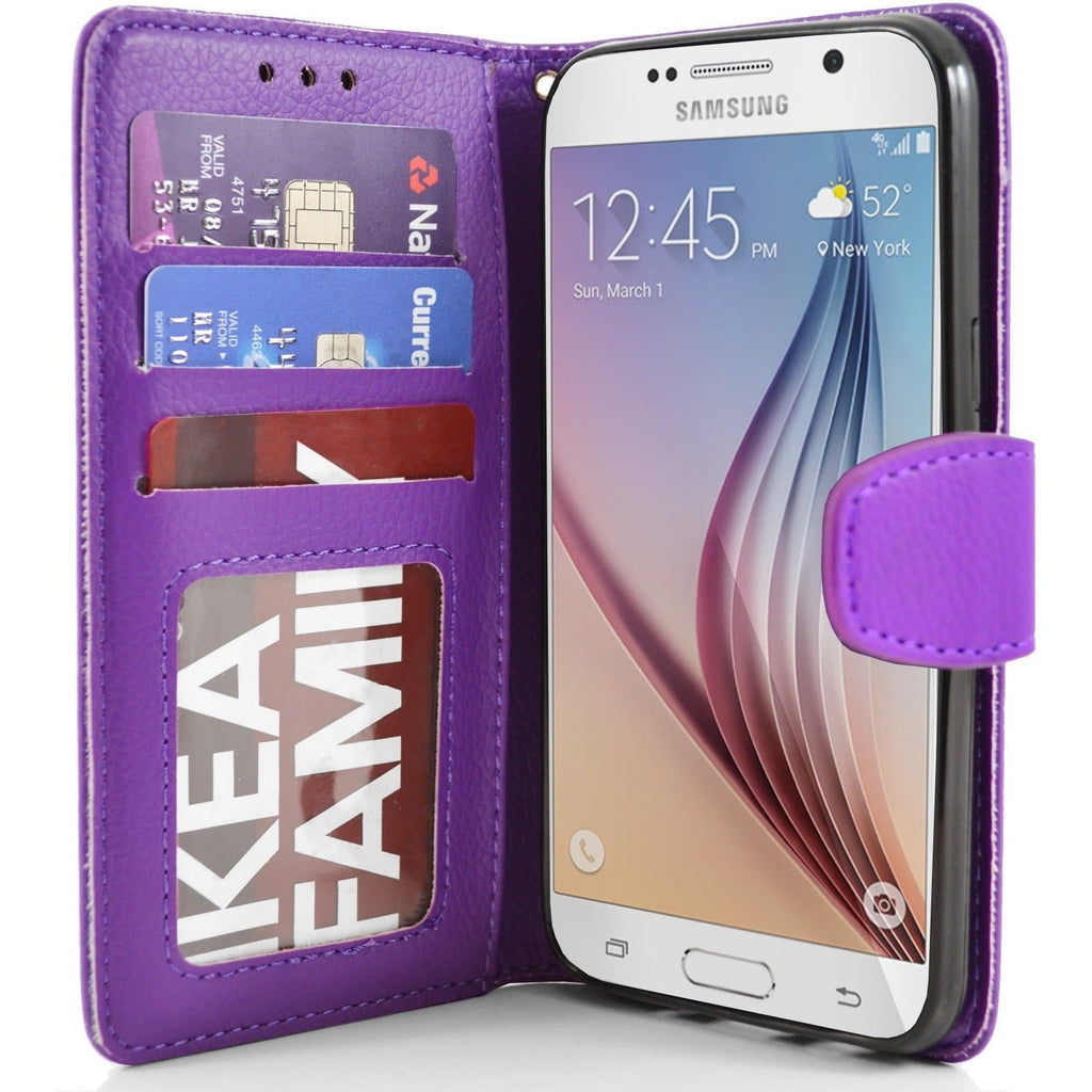 Samsung Galaxy S6 PU Leather Wallet Case - Purple