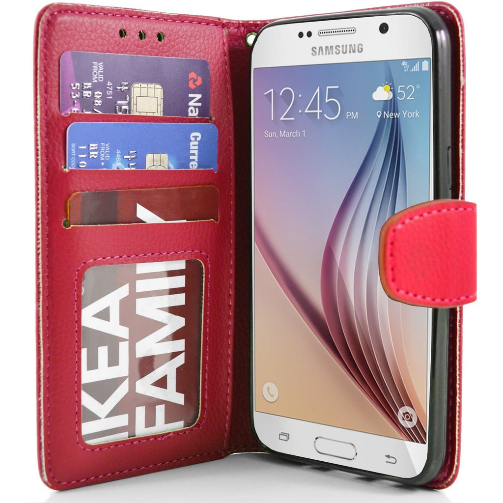 Samsung Galaxy S6 PU Leather Wallet Case - Red