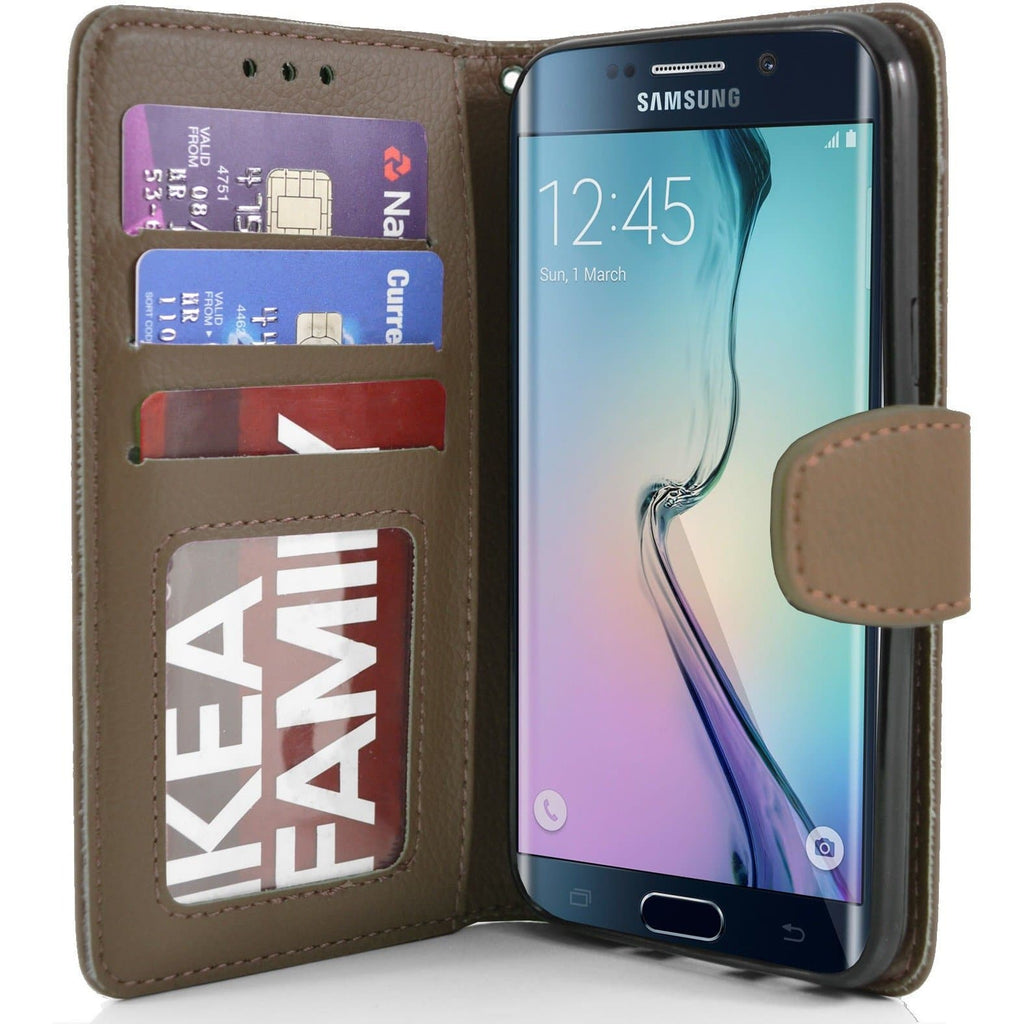 Samsung Galaxy S6 Edge PU Leather Wallet Case - Brown