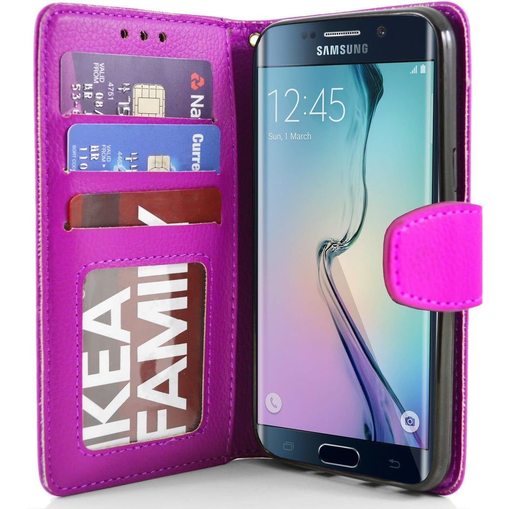Samsung Galaxy S6 Edge PU Leather Wallet Case - Pink