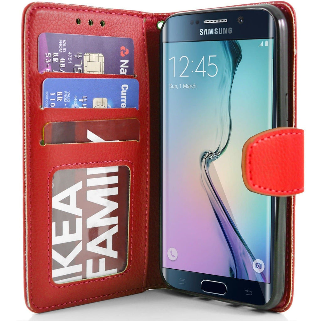 Samsung Galaxy S6 Edge PU Leather Wallet Case - Red