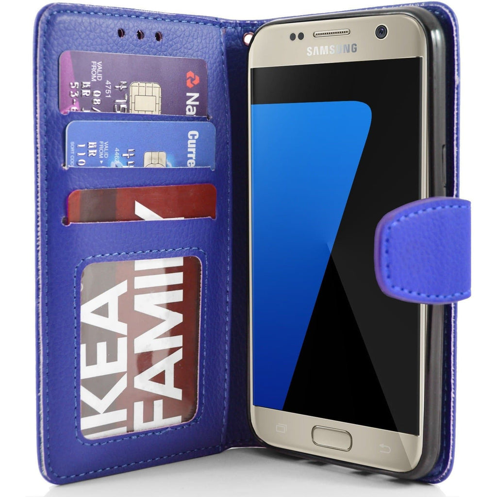 Samsung Galaxy S7 PU Leather Wallet Case - Blue