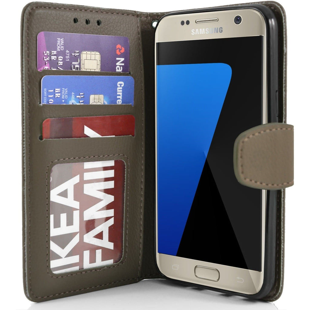 Samsung Galaxy S7 PU Leather Wallet Case - Brown