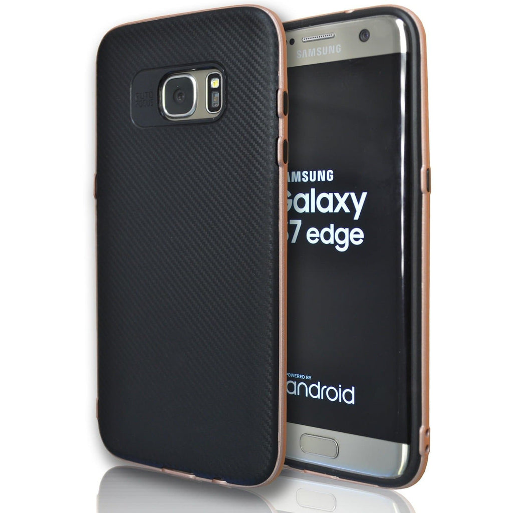 Samsung Galaxy S7 Edge - Carbon Protective Case - Rose Gold