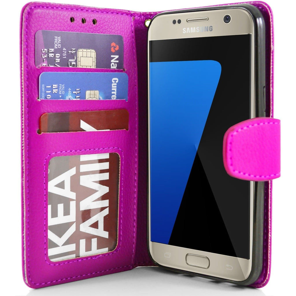 Samsung Galaxy S7 Plus PU Leather Wallet Case - Pink