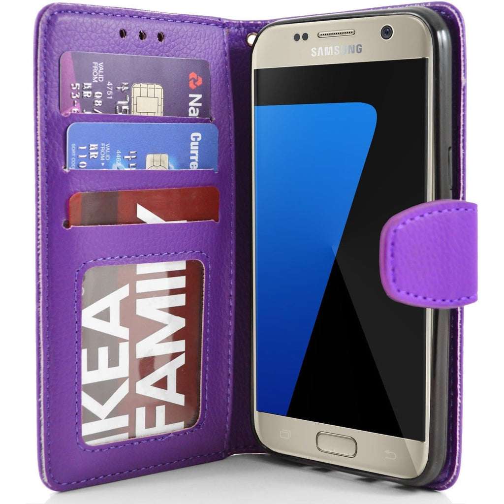 Samsung Galaxy S7 PU Leather Wallet Case - Purple