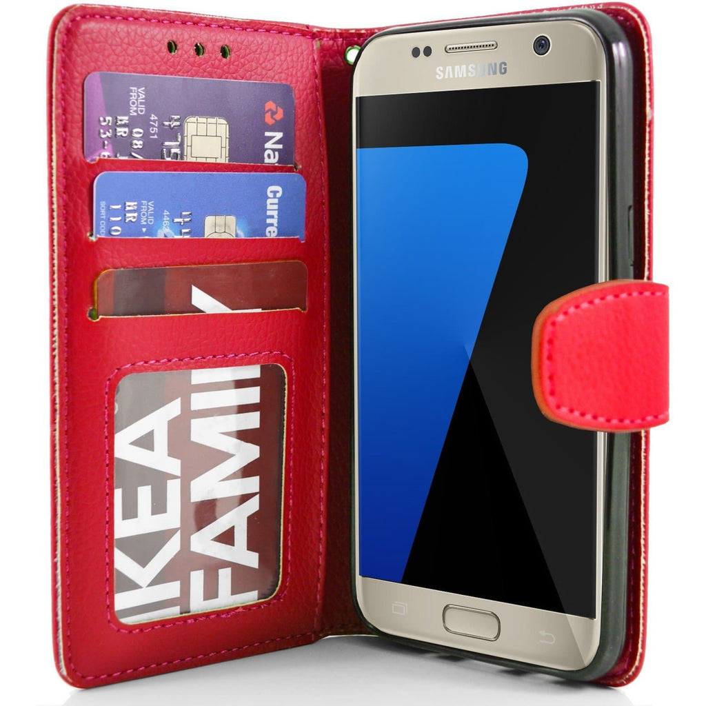 Samsung Galaxy S7 PU Leather Wallet Case - Red