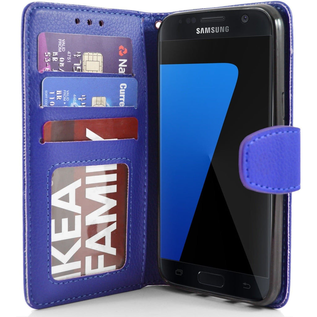 Samsung Galaxy S7 Edge PU Leather Wallet Case - Blue