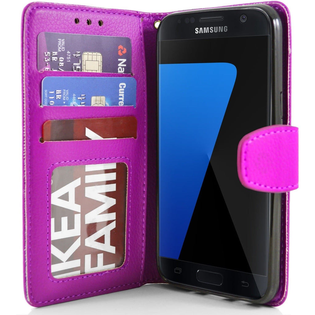 Samsung Galaxy S7 Edge PU Leather Wallet Case - Pink