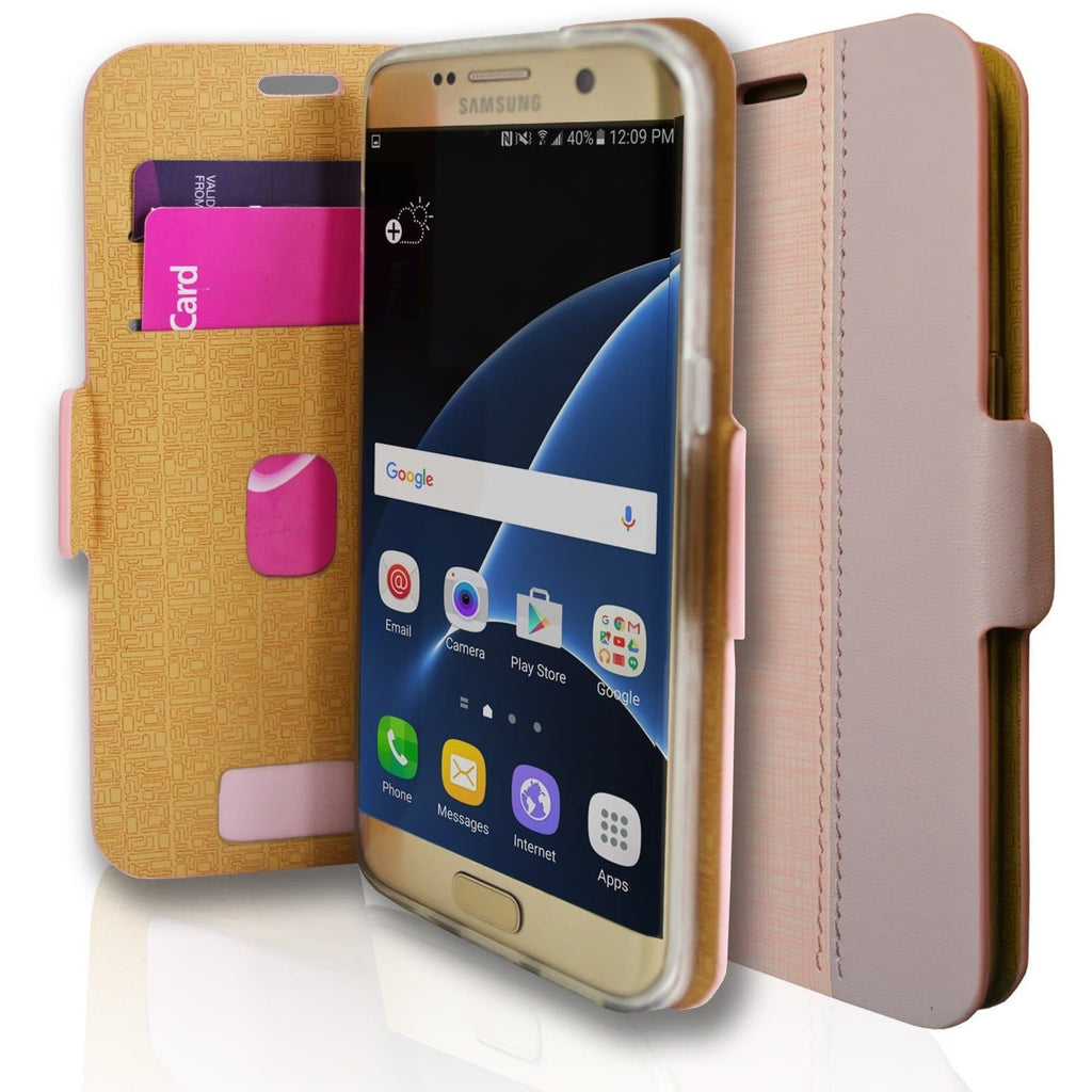 Samsung Galaxy S7 Edge Luxury PU Leather Wallet Case - Pink