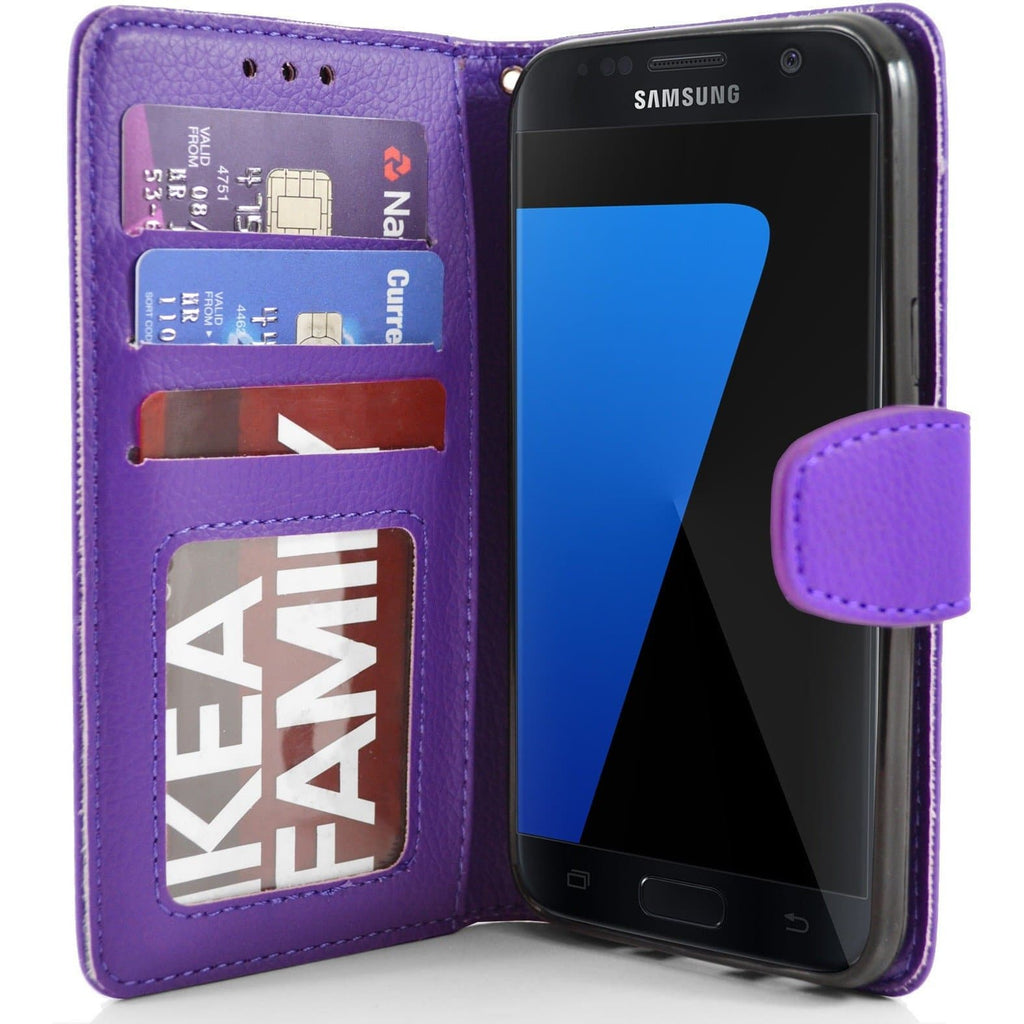 Samsung Galaxy S7 Edge PU Leather Wallet Case - Purple