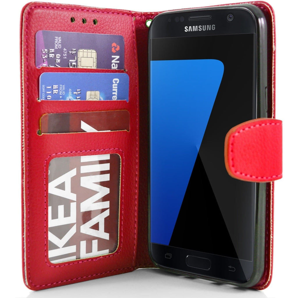 Samsung Galaxy S7 Edge PU Leather Wallet Case - Red