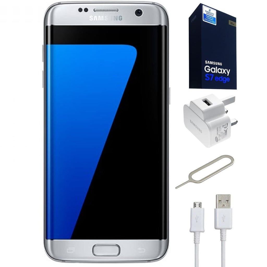 Samsung Galaxy S7 Edge (32GB) - Silver - Unlocked - Genuine Bundle
