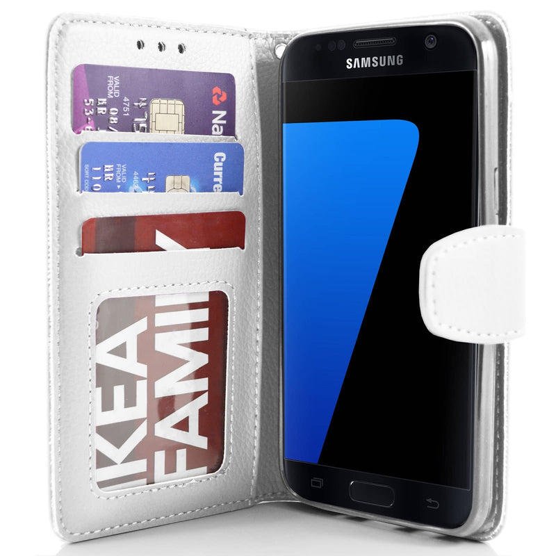 Samsung Galaxy S7 PU Leather Wallet Case - White