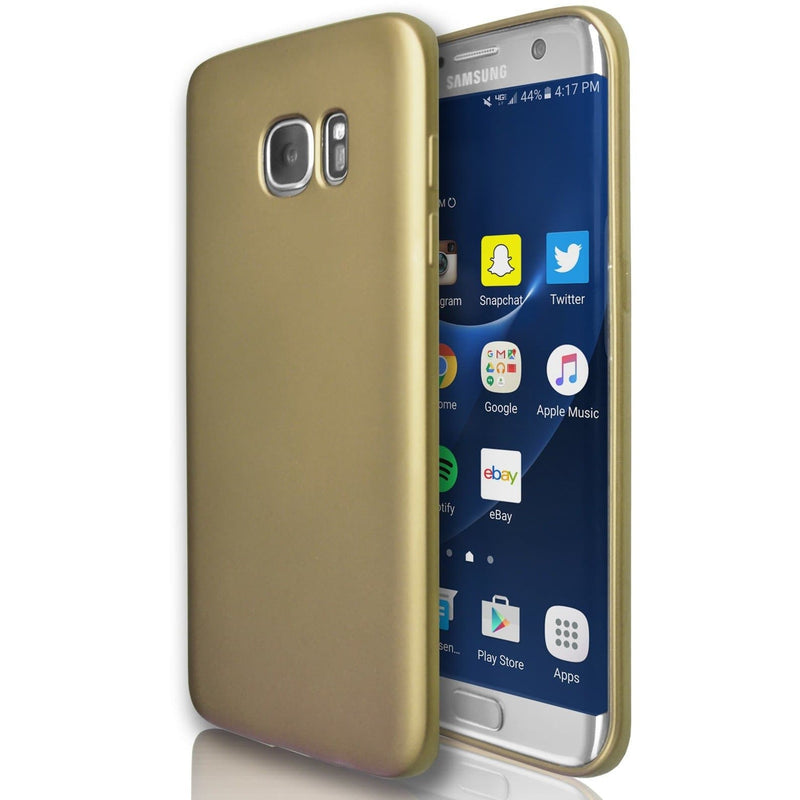 Samsung Galaxy S6 Edge  - Gel Soft Silicone Protective Case - Gold