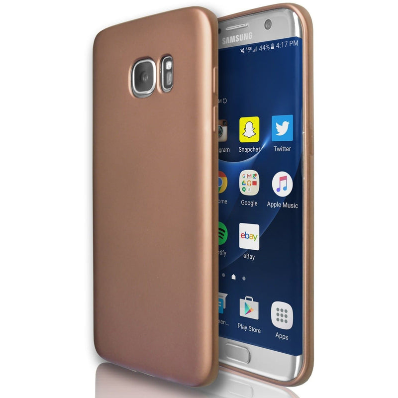 Samsung Galaxy S7 Edge  - Silicone Soft Gel Protective Case - Rose Gold