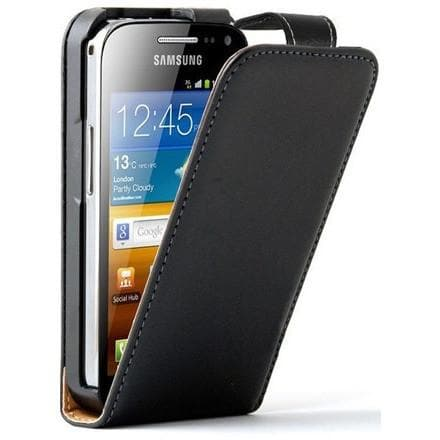 Black Flip Leather Case For Samsung Galaxy Ace 2 - I8160