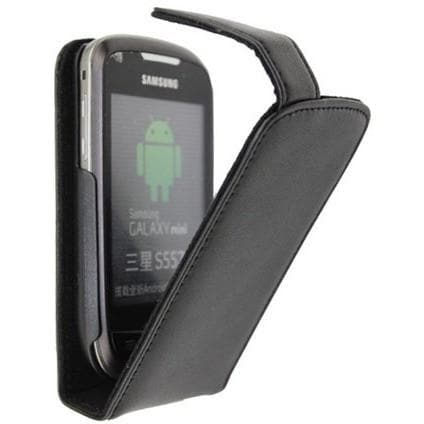 Black Flip Leather Case For Samsung S5570 Galaxy Mini