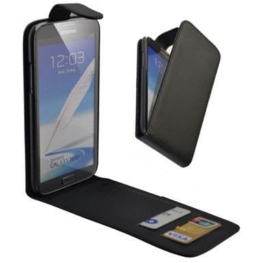 Black Flip Wallet Pu Leather Case For Samsung Galaxy Note 2 N7100