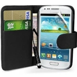 Black Flip Wallet Pu Leather Case For Samsung Galaxy S3 Mini (I8190)