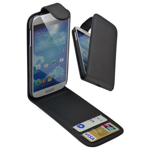 Black Flip Wallet Pu Leather Case For Samsung Galaxy S4 (I9500)