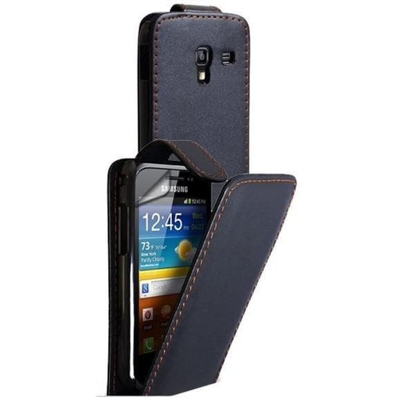 Black Leather Flip Case Cover For Samsung Galaxy Ace Plus S7500