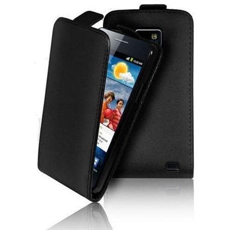 Black Leather Flip Case For Samsung I9100 Galaxy S 2 Ii