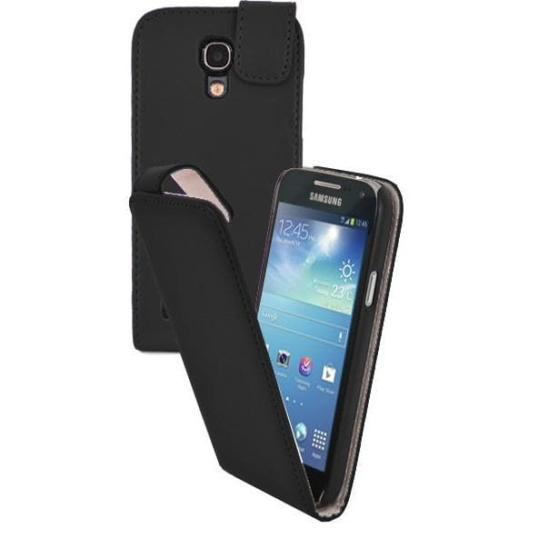 Black Pu Flip Leather Case For Samsung Galaxy S4 Mini (I9190)