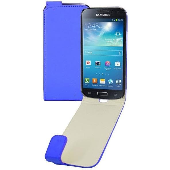 Blue PU Leather Flip Case For Samsung Galaxy S4 Mini