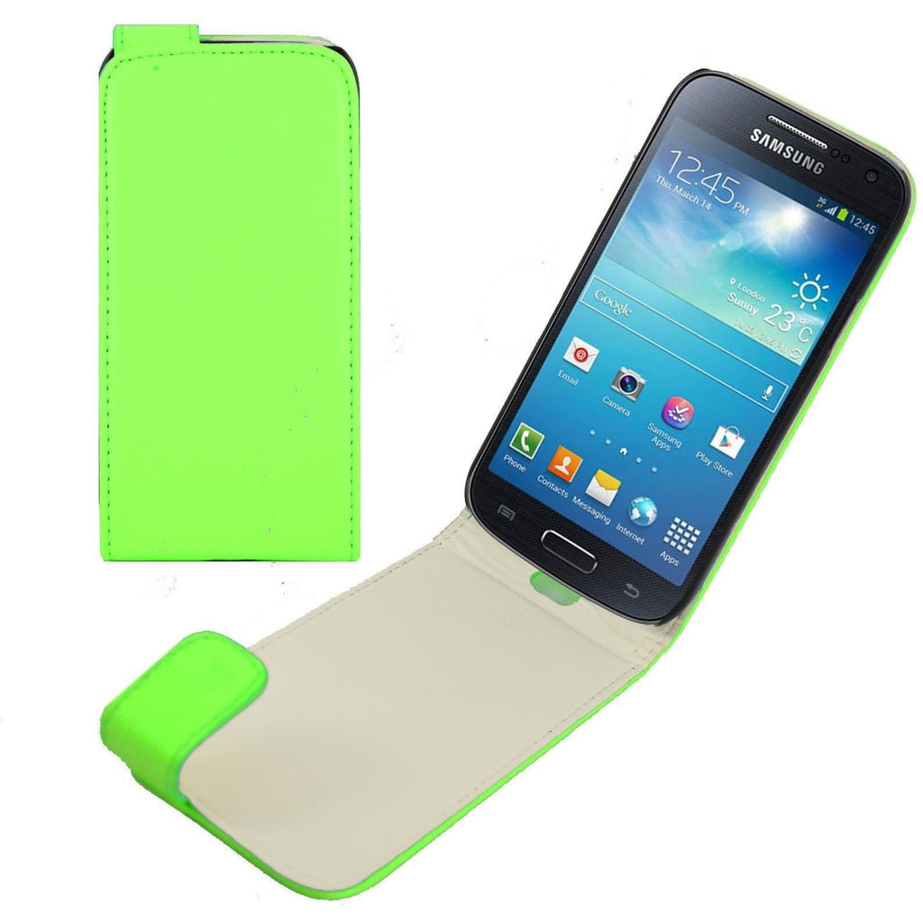 Green PU Leather Flip Case For Samsung Galaxy S4 Mini