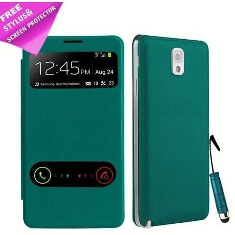 Light Blue Flip S View Pu Leather Case Cover For Samsung Galaxy Note 3 N9000