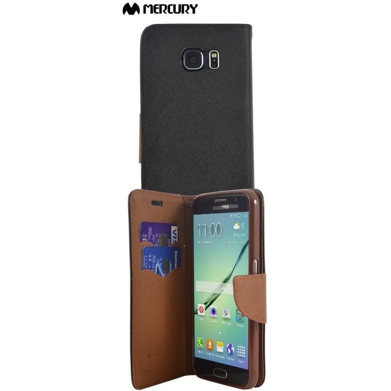 Mercury Brown Luxury PU Leather Wallet Case For Samsung Galaxy S6