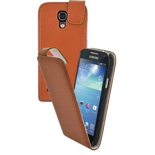 Orange Pu Flip Leather Cover Case For Samsung Galaxy S4 Mini (I9190)