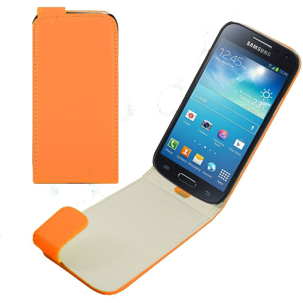 Orange Samsung Galaxy S4 Mini PU Leather Flip Case