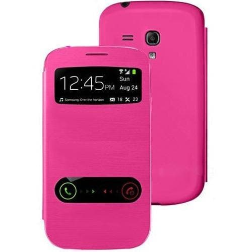 Samsung Cases - Pink Flip S View Pu Leather Case Cover For Samsung Galaxy S3 Mini I8190 + Screen Protector & Stylus Pen