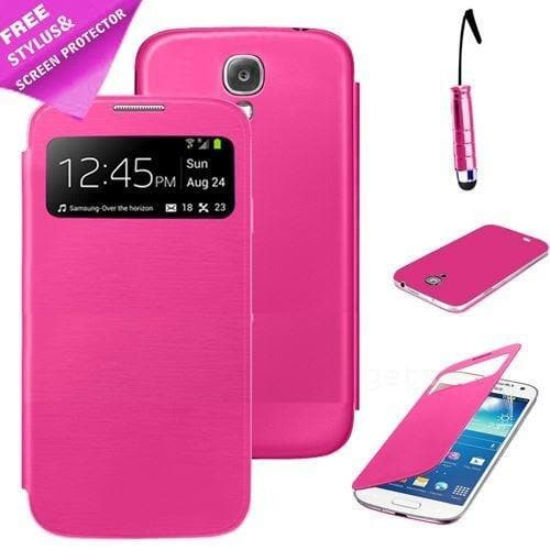 Samsung Cases - Pink Flip S View Pu Leather Case Cover For Samsung Galaxy S4 Mini I9190 + Screen Protector & Stylus Pen