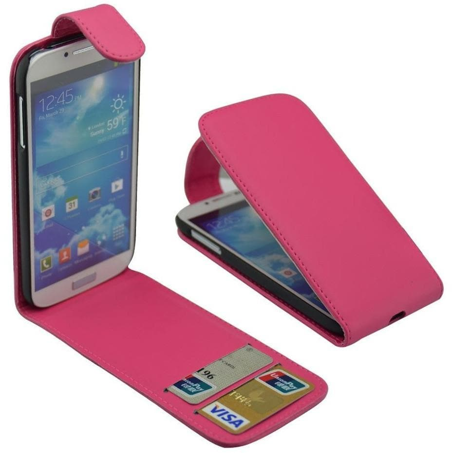 Pink Flip Wallet Pu Leather Case For Samsung Galaxy S4 (I9500)