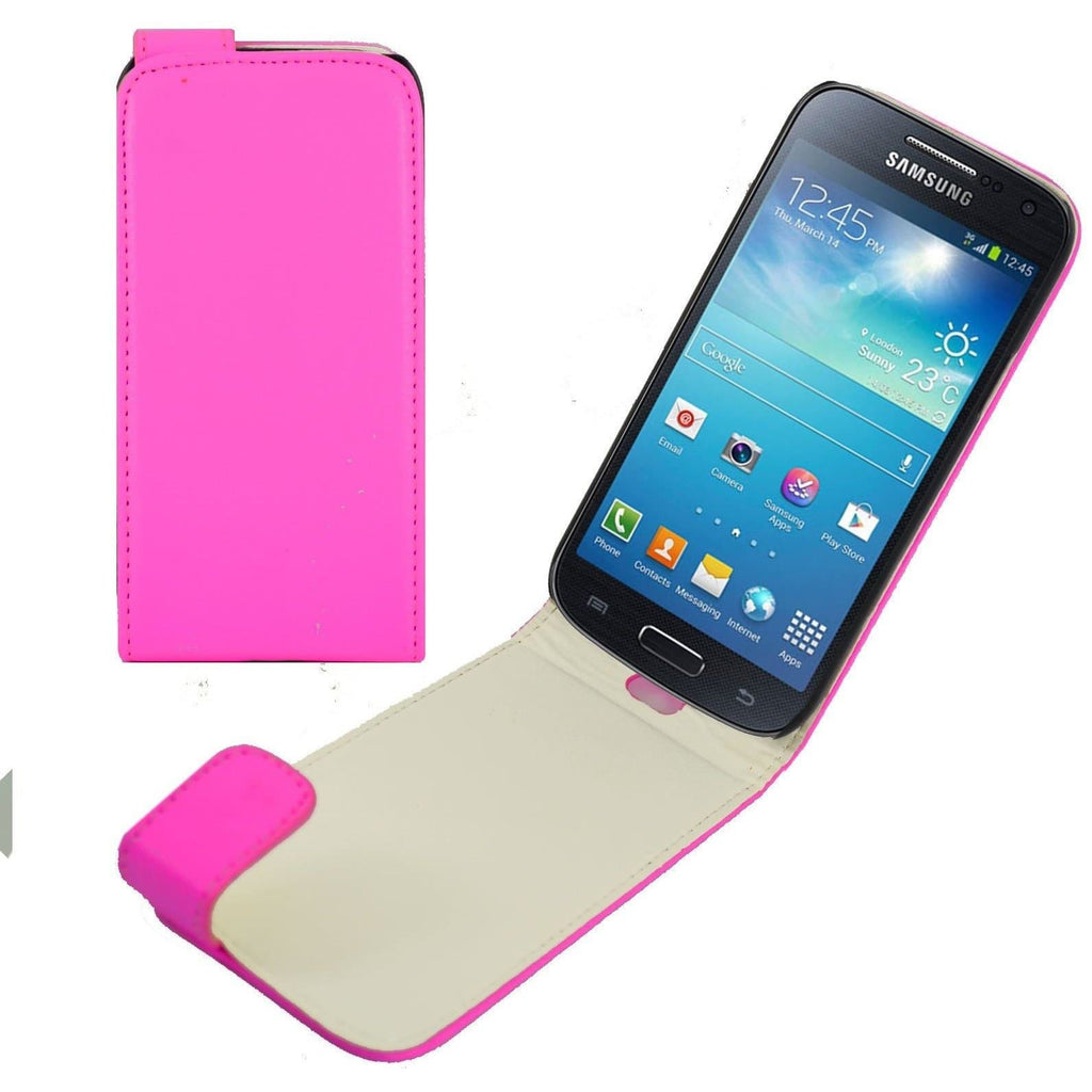 Pink Samsung Galaxy S4 Mini PU Leather Flip Cover Case