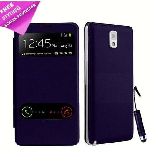 Samsung Cases - Purple Flip S View Pu Leather Case Cover For Samsung Galaxy Note 3 N9000 + Screen Protector & Stylus Pen