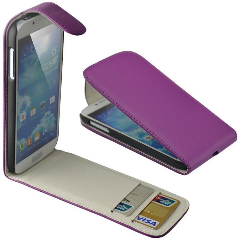 Purple Flip Wallet Pu Leather Cover Case For Samsung Galaxy S4