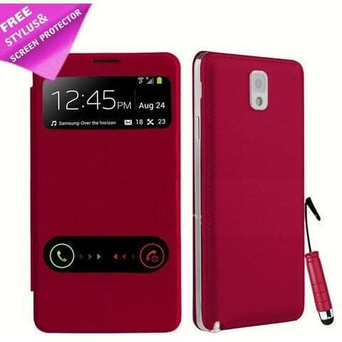 Samsung Cases - Red Flip S View Pu Leather Case Cover For Samsung Galaxy Note 3 N9000 + Screen Protector & Stylus Pen