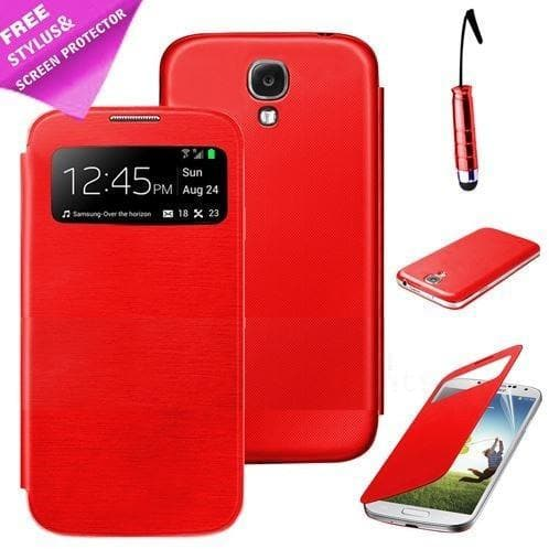 Red Flip S View Pu Leather Case Cover For Samsung Galaxy S3 (I9300)