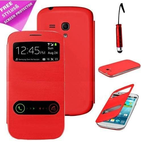 Red Flip S View Pu Leather Case Cover For Samsung Galaxy S3 Mini I8190