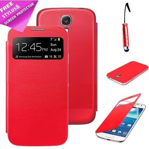 Samsung Cases - Red Flip S View Pu Leather Case Cover For Samsung Galaxy S4 Mini I9190 + Screen Protector & Stylus Pen
