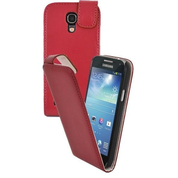 Red Pu Flip Leather Case For Samsung Galaxy S4 Mini I9190