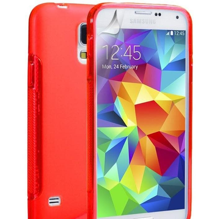 Red S Line Case Cover Fits Samsung Galaxy S5 (I9600)