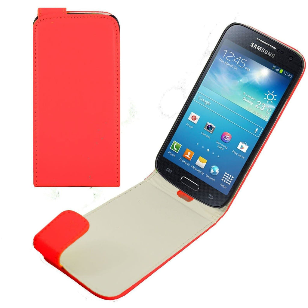 Red Samsung Galaxy S4 Mini PU Leather Flip Cover Case
