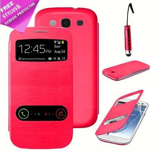 Samsung Cases - S View Case For Samsung Galaxy S3 I9300 - Red