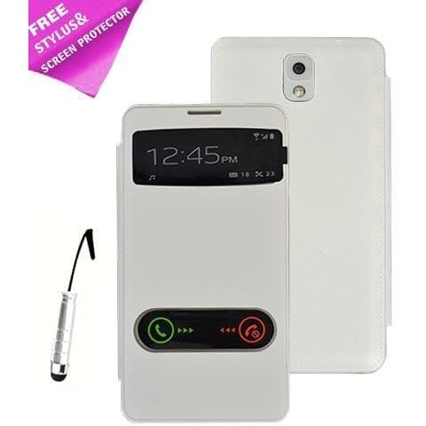 Samsung Cases - White Flip S View Pu Leather Case Cover For Samsung Galaxy Note 3 N9000 + Screen Protector & Stylus Pen
