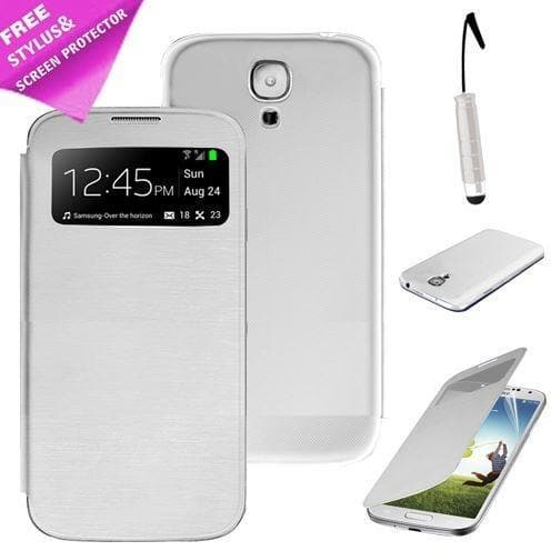 White Flip S View Pu Leather Case Cover For Samsung Galaxy S3 Iii I9300